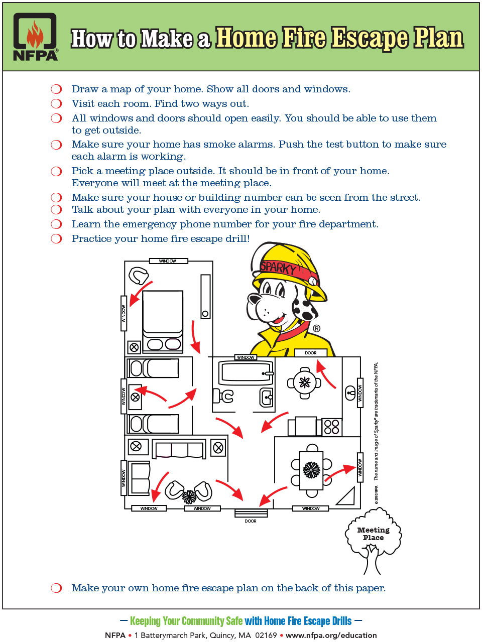 NFPA - How to make a home fire escape plan